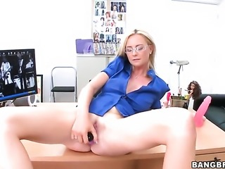 Blonde Camryn Cross loves the way her bang buddy moves his worm up and down...
