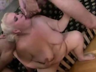 Plumper Blonde Mature Jizzed In A 3some