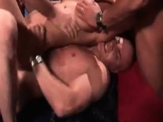 Double penetration and BJs in bukkake orgy