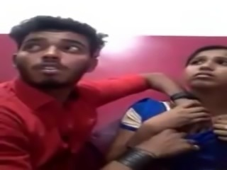 Indian couple in net cafe boob liking