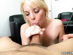 Blonde Missy Mathers with tiny tits gives double handed tugjob