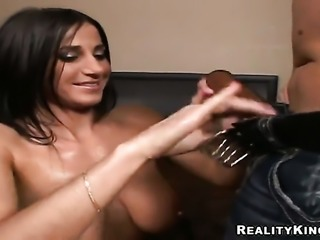 Brunette Anna Nikova with round bottom and hairless muff is a blowjob addict...