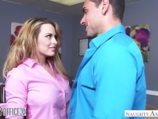 Busty Corinna Blake bangs her coworker on her last day - Naughty America