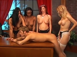 Dude bends over table as five hotties with strap-ons take turns fucking his ass