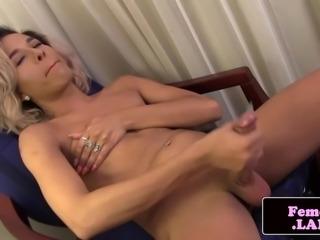Latina trap Jessica Kush jerking her cock