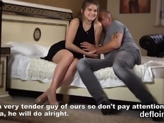 Fervid nympho stretches slim cunt and gets deflorated