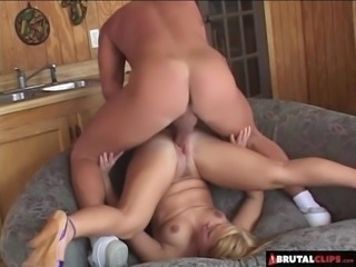 BrutalClips  Blondie Wrecked by Two Cocks