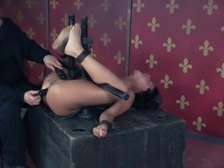 bound slave has her vagina stimulated