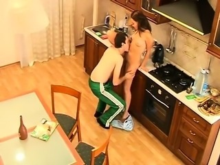 Wife and sexy husband gets in the kitchen