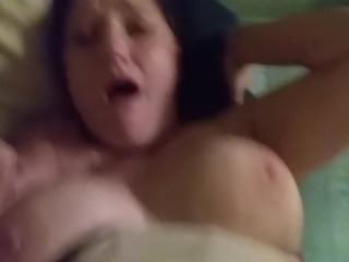 Busty MILF sucks and fucks BWC