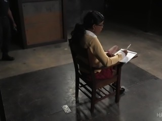 Our school has a special punishment for girls, who get failed. She is tied...