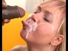 Mature blonde slut gets excellent BBC facial