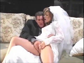 Sexy bride takes anal on her wedding night