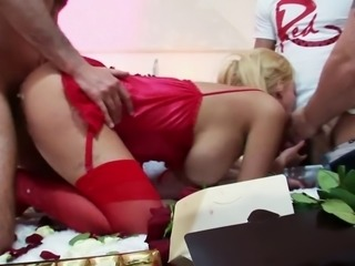 Insatiable Carly is gifted roses, chocolates and multiple cocks