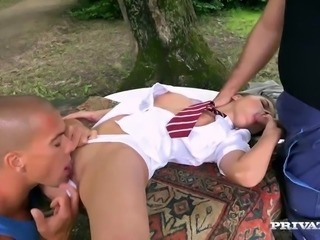 Tight Teen Anita Bellini has both holes plugged by two Gardeners