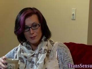 Trans hottie rides cock