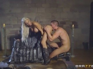 Busty Peta Jensen is bonked hard right next to the iron throne