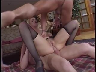 Beautiful slut Olivia Saint with nice big tits gets anal and pussy DP