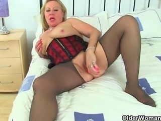 British grannies Camilla and Georgie feel sexy in nylons and decides to get...
