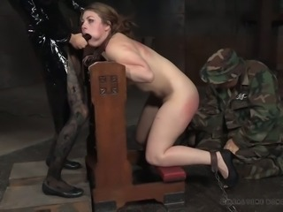 Sinful gal Harley Ace gets her pussy fucked with strapon