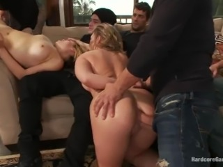 Two kinky chicks get fucked rough by eight guys