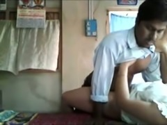 Happy guy fucking his chunky Indian housewife in missionary position