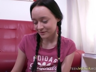 Braided pigtails cutie in a pleated skirt fucked hardcore