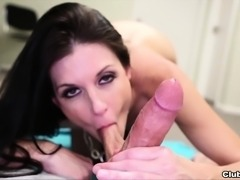 Sexy brunette bitch in black stockings kneels to give a handjob and blowjob