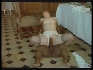 Retro Classic - Brunette in Purple Panties Sex With Midget