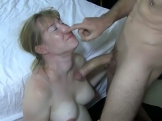 Blond haired buxom amateur wifey sucks my buddy's strong big cock