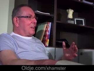 Hot young girl fucking an old man sucking his cock and hot deepthroat...