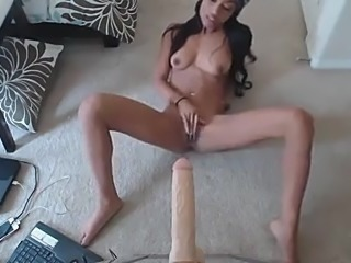 Hot Black Girl Sucking and fucking Dildo