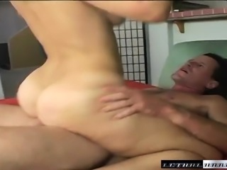 Tanned young cutie can't resist this hunk's throbbing jackhammer
