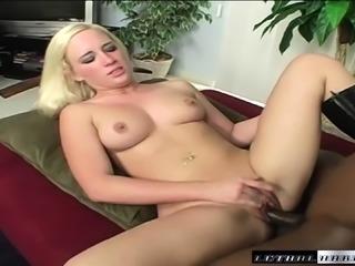 Jaclyn Jayden fucks a huge black pole and indulges in intense orgasms