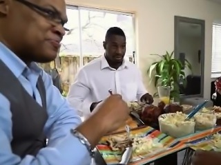 Pretty Black Teen Sucking Dick At Family Dinner Party