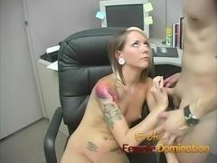 Skinny office slut dominates her co-worker's hard cock