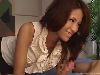 Hot Japanese office MILF gives a titjob and takes cum in her mouth