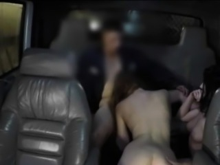 Hot girls give a blowjob and banged by horny guy in the car