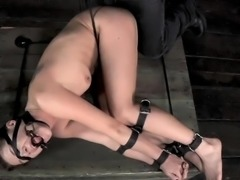 Bounded thrall girl is getting a lusty pussy punishment