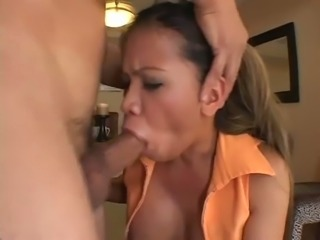Busty Asian MILF is riding her man backwards like the dirty whore she is