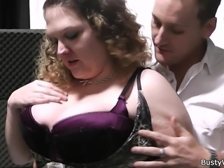 Curly plumper takes his horny cock from behind