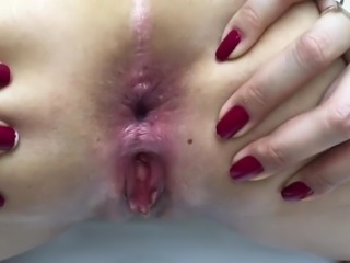 Latina Babe Bends  Over To Show Her Pussy And Ass Hole