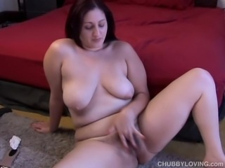 Cute chubby chick with a nice big ass and a natural bush
