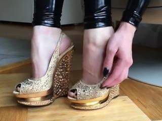 Golden Platform Heels