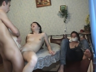 Dude gets tied up and has to watch his girlfriend cuckold him