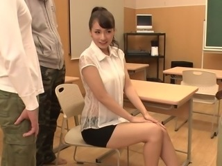 Young Japanese teaches Japanese teacher Yui Oba is fucked by group of students