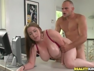 Bald headed boss fucks super busty secretary Desiree