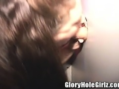 Cheating brunette wife with big hooters Rebecca loves gloryhole cocks