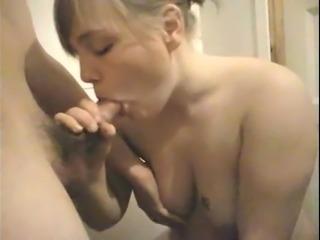 Amateur BJ cum on tits