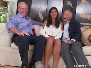 Hot Latina Enjoys Threesome With Grandpas
